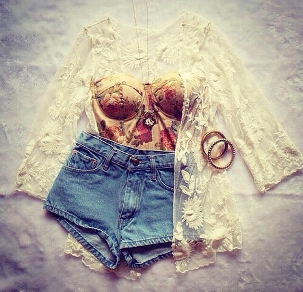 cardigan blouse white lace cute tank top sleeves sleeveless top jacket jewels shirt floral shorts lace cardigan