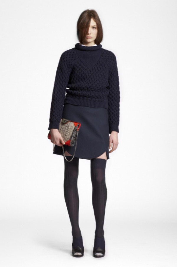 sweater lookbook fashion carven skirt bag