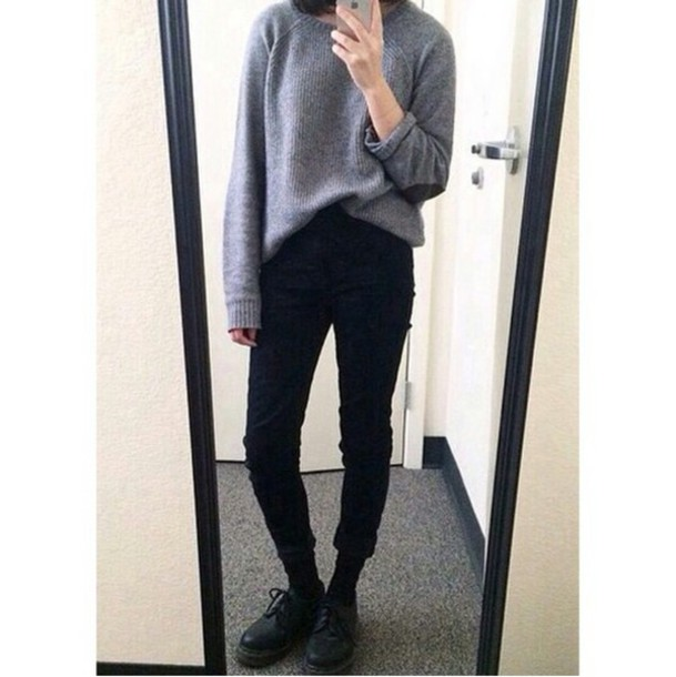 sweater grey sweater skinny jeans casual grunge alternative dope style style stylish trendy trendy trendy on point clothing blogger fashion inspo chill rad