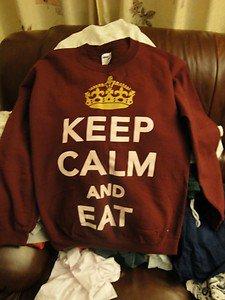 Keep Calm and EAT Burgundy Crewneck unisex size Small on Wanelo