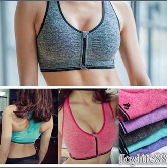 top bra zip zip-up sports bra sportswear black pink purpke purple blue