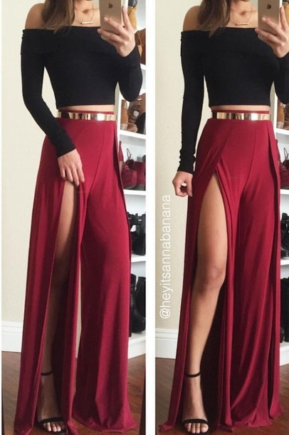 Dress black crop top dark long dress tumblr outfit prom dress slit skirt red skirt skirt ...