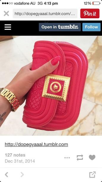 bag wallet clutch pink leather bag