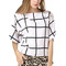 White plaid boat neck chic top