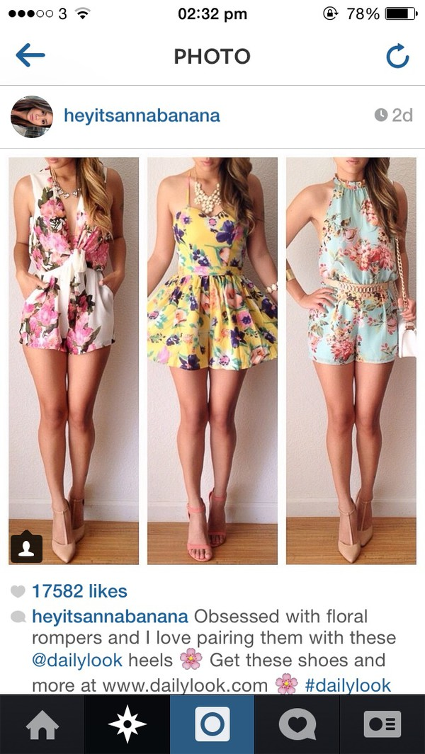 romper skirt top floral shoes