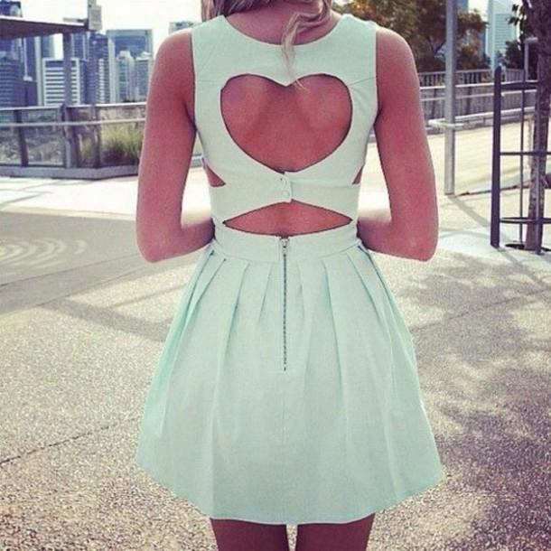 dress heart cut out heart blue dress blue mint lovely cute dress mint back baby blue
