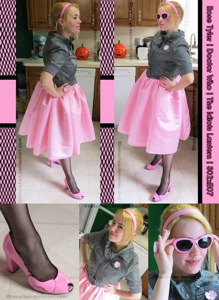 jacket 50s style rose tyler doctor who blue jacket skirt hair accessory shorts shoes