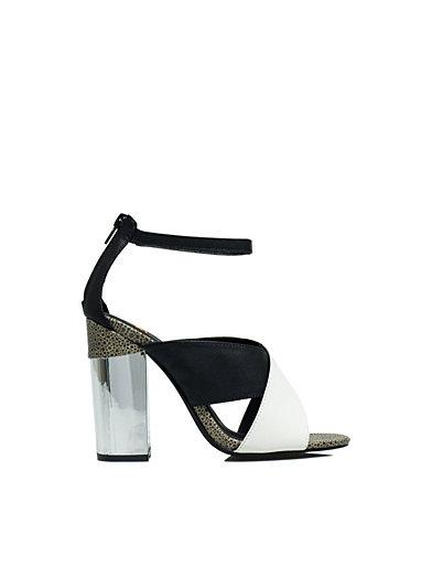 Cross Over Block Sandal - Nly Shoes - Svart/Hvit - Festsko - Sko - Kvinne - Nelly.com