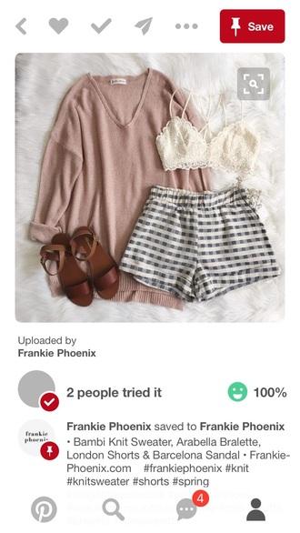top shirt shorts bralette white pink plaid black straps