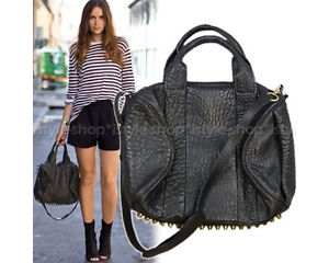 Celebrity Studs Bottom Duffel Leather Tote Bag w Strap   eBay