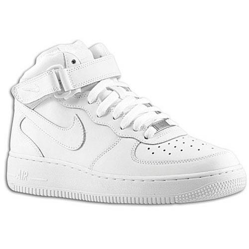 Nike Air Force 1 Mid - Boys' Grade School - Basketball - Shoes - White/White