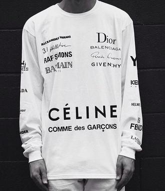 sweater white large designer brand crewneck dior celine comme des garcons balmain givenchy alexander wang kenzo