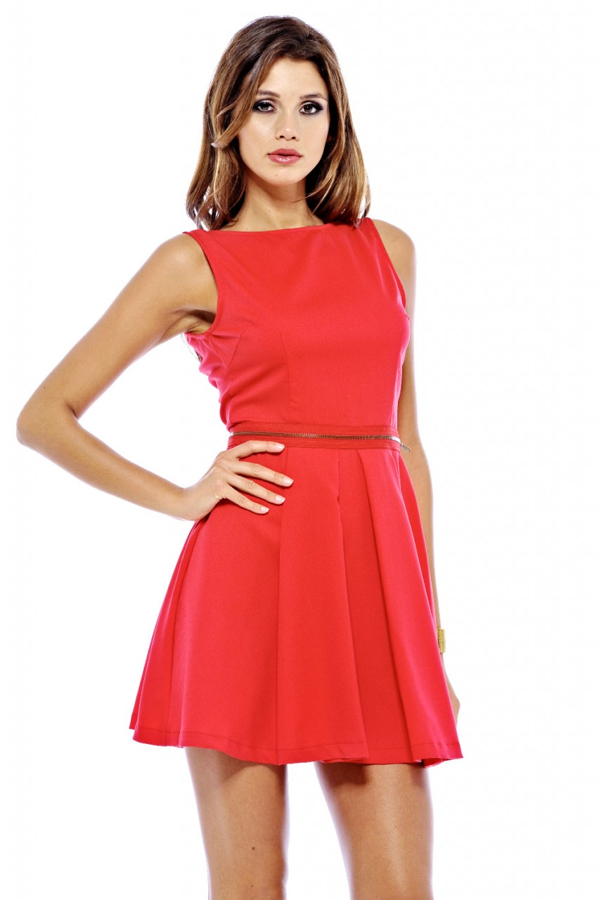 Red Day Dress - Red Sleeveless Skater Dress with | UsTrendy