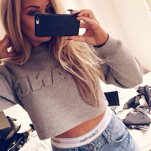 sweater wang alexander wang crop grey grey sweater