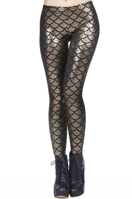 Sexy Golden Silver Fish Scales Printed Leggings | Pariscoming
