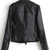Black Lapel Long Sleeve Zipper Leather Jacket - Sheinside.com