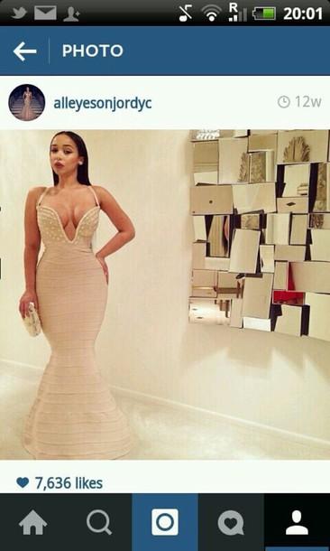 dress nude dress fishtail dress full length dress mermaid prom dress nude