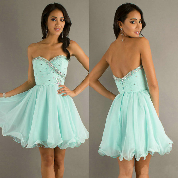 Light Blue Chiffon Organza Cheap Price Short Prom Dress Cocktail Homecoming Dresses 2014-in Homecoming Dresses from Apparel & Accessories on Aliexpress.com