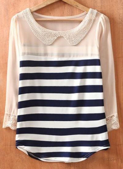 Navy Beige Striped Long Sleeve Chiffon Blouse