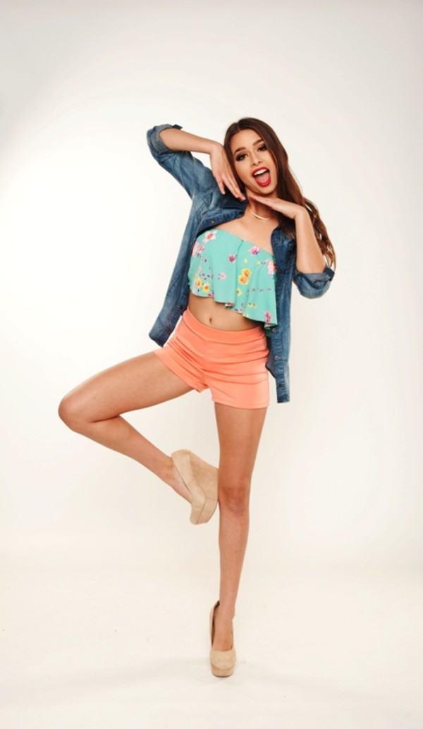 blouse top denim denim shirt shorts wedges crop tops