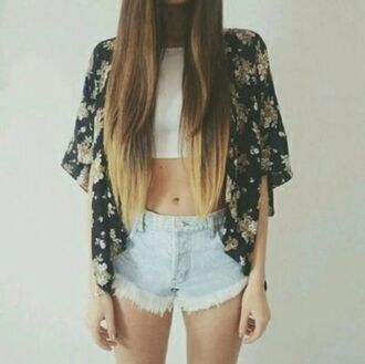 jacket boho kimono kaftan floral blouse shorts floral kimono tank top white top cool girl style summer outfits summer top crop tops white flowers highlights