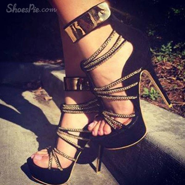 shoes cut-out high heels sandals sneakers black gold black and gold high heels black and gold heels
