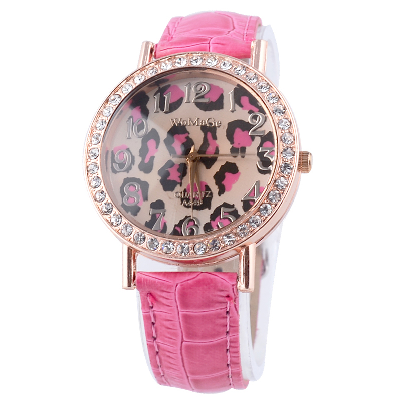 Free Shipping Fashion Round Leopard Pattern Dial Analog Strap Watch With Crystal Decoration(Pink) (Y on Luulla