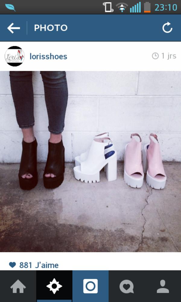shoes black platform shoes white