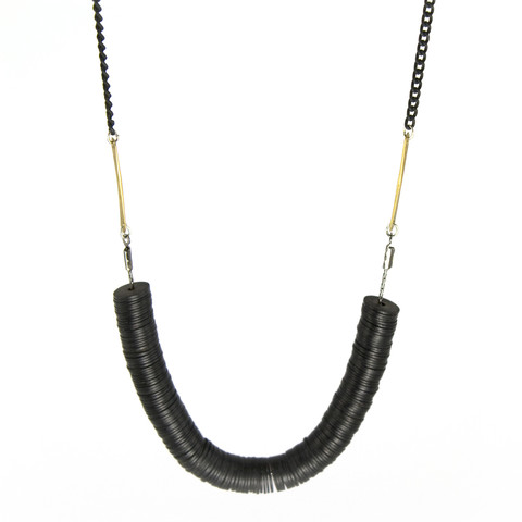 Mixed metal black beaded statement necklace. | Shop | betsy & iya