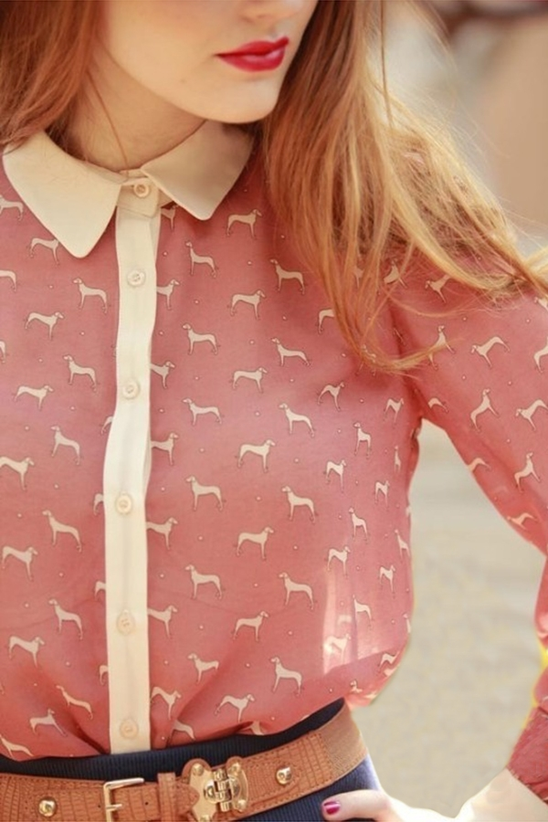 Contrast Animal Pirnt Long Sleeve Shirt - OASAP.com
