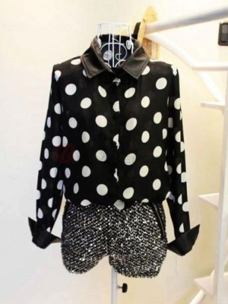blouse collar polka dots polka dot blouse black and white