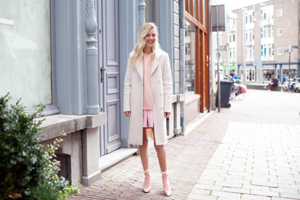 cocorosa blogger coat sweater socks baby pink blonde hair pink skirt