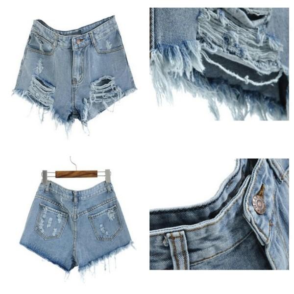 shorts blue denim denim shorts ripped shorts High waisted shorts high waisted denim shorts blog blogger