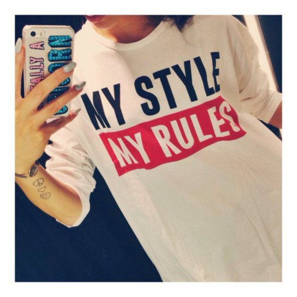 shirt t-shirt sweater pullover style rules print quote on it