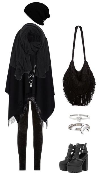 leggings goth hipster grunge black leggings\ alternative black leggings fashion leggings bag shoes scarf jacket