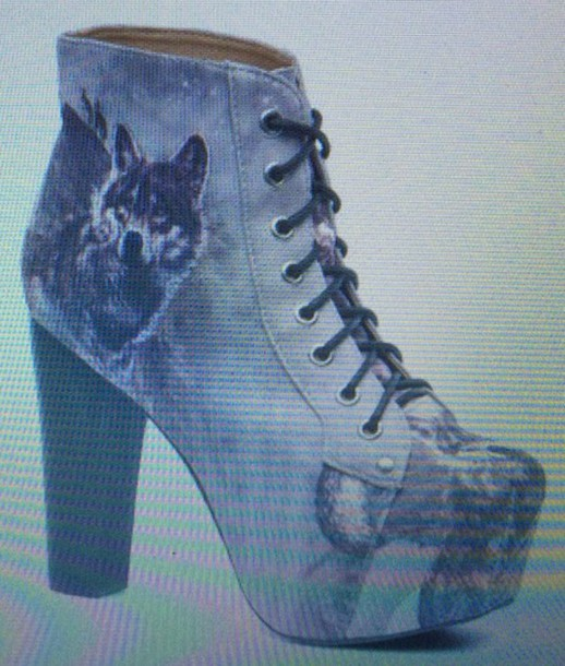 shoes heels boots pattern platform lace up boots