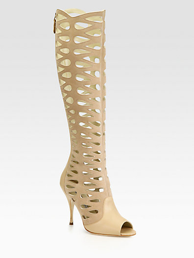 Brian Atwood - Electra Leather Cutout Knee-High Boots - Saks.com