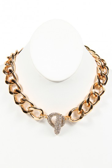 OMG Rhinestone Thick Chain Necklace - Gold