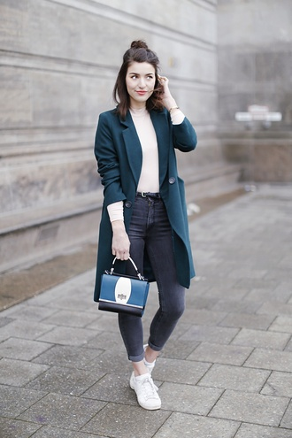samieze blogger coat jeans bag blue coat grey jeans sneakers