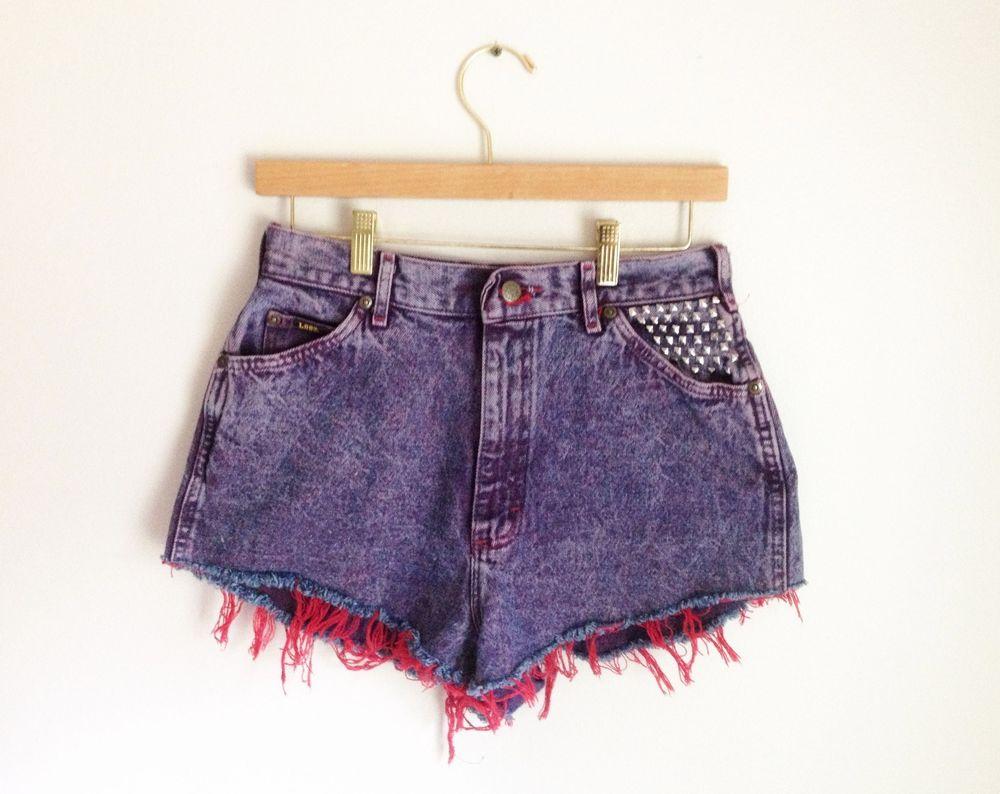 Vintage Lee Purple Acid Wash Studded High Waisted Cut Offs Jean Denim Shorts 27   eBay