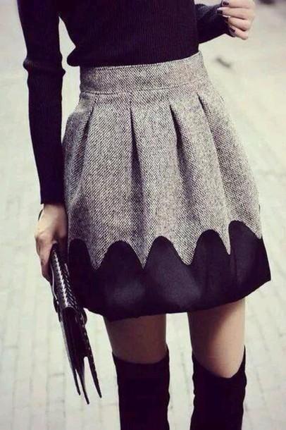 skirt grey pleets thick short silk
