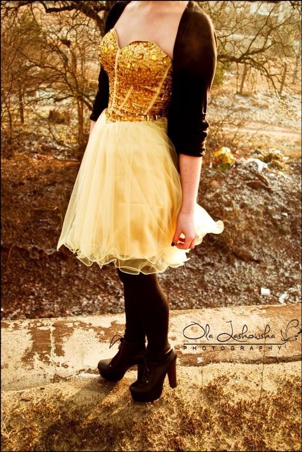 dress gold mini dress black cardigan strapless dress