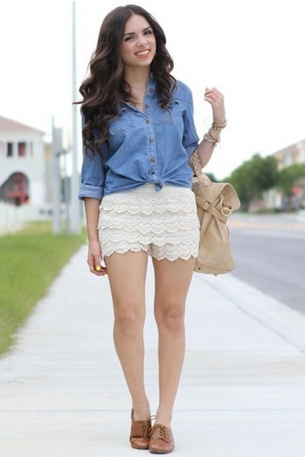 Vintage y Dulce Cintura Alta Shorts de Encaje - OASAP.com