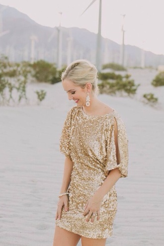 dress boat neck gold sequins bridesmaid gold sequins short dress