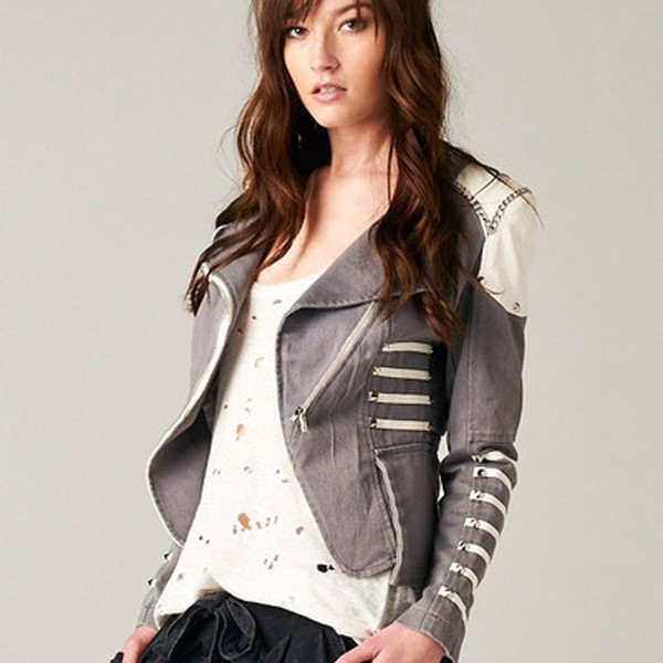 jacket disorderly conduct grey chain gold buttons makeup table vanity row