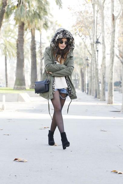 dulceida blogger jacket parka winter coat ripped shorts sweater shorts shoes bag hooded jacket