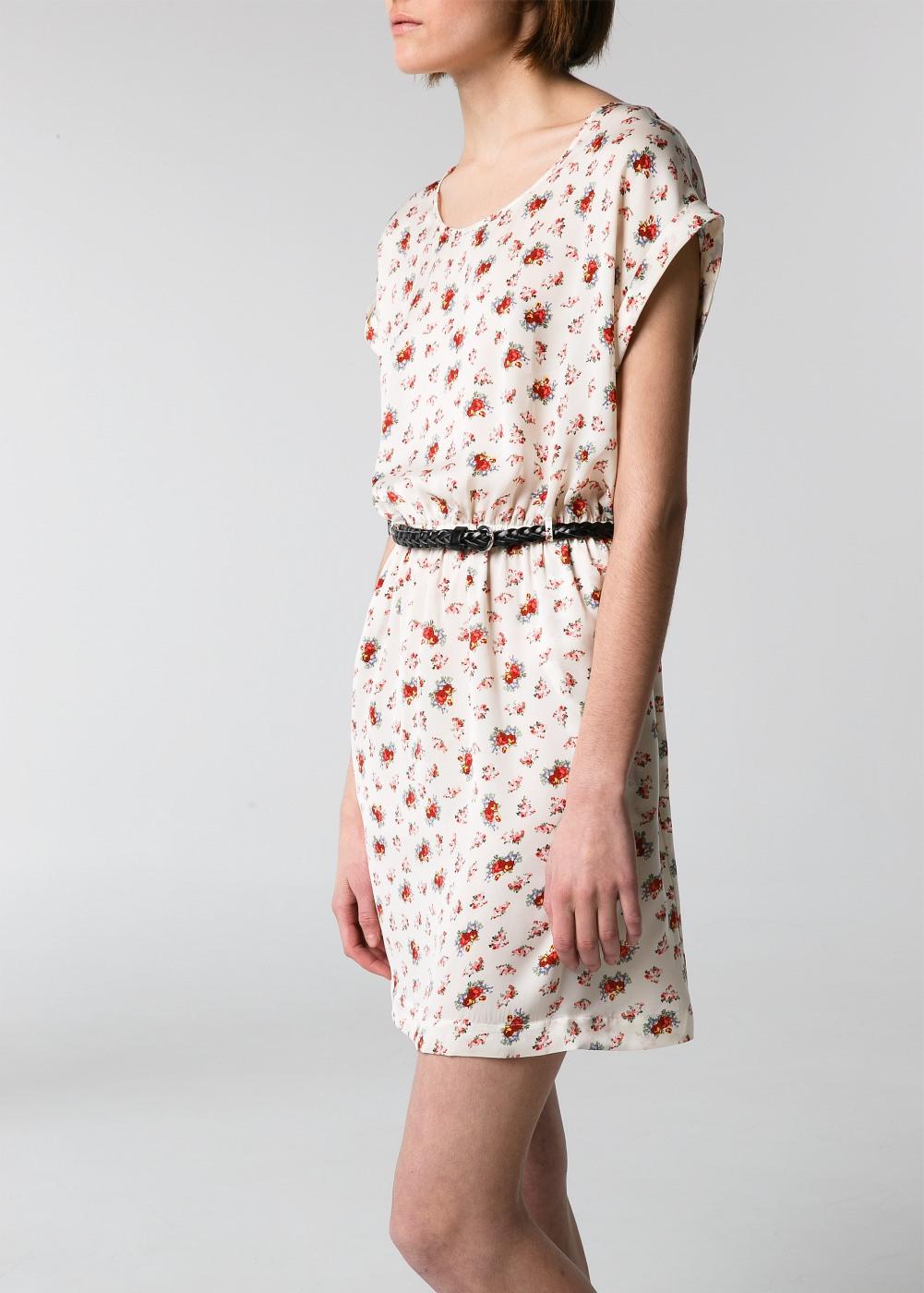 Belted printed dress -  Dresses - Women - MANGO