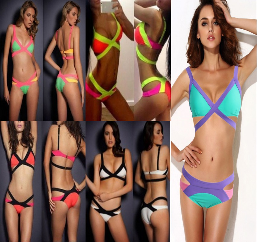 2014 new High Quality Sexy Bandage Bikini Swimsuit Paris Beachwear Swimwear 2 piece Bikini wholesale price FREE SHIPPING-in Bikinis Set from Apparel & Accessories on Aliexpress.com