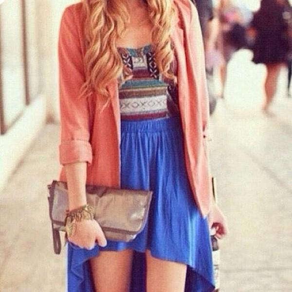 shirt courset blue skirt skirt sweater