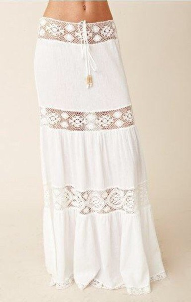 skirt boho white lace skirt